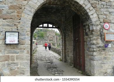 VALIKO TARNOVO, BULGARIA - APR 15, 2019 - Gateway with portcullis of the Fortress Tsarevets, Veliko Tarnovo, Bulgaria