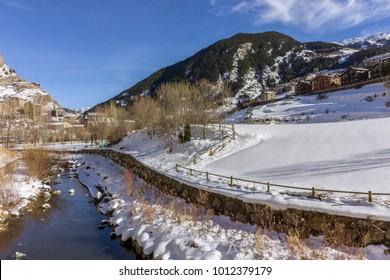 Valira river througt town of Canillo village. Principality of Andorra.