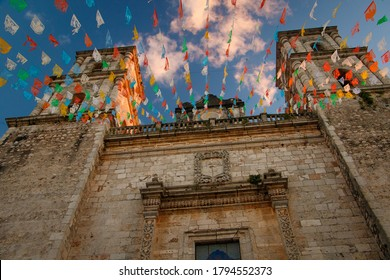 Valladolid church with Christmas time decoration, mexican state of Yucatan