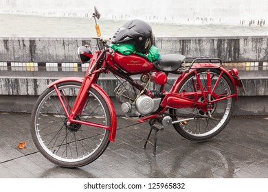 VALLADOLID, JANUARY 12: Bicycle with engine on Valladolid, Spain,  to January 12, 2013, during the Penguins concentration. Meet more than 26,000 motorcycles worldwide.