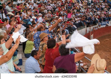 Valladolid, Mexico - 25 January 2009: people spectators of a bullfight at Valladolid on Yucatan, Mexico