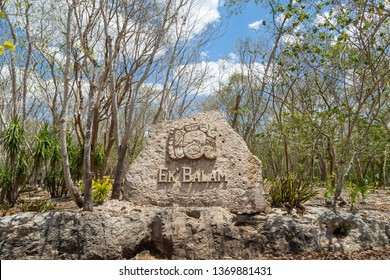 Valladolid, Mexico – April 02 2019: Ancient Maya city of Ek Balam. Acropolis, the largest structure at Ek Balam ruins, archaeological zone of the ancient Mayan civilization, Yucatan, Mexico