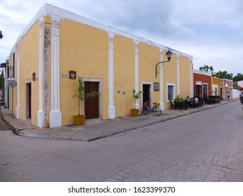 Valladolid, Mexico - January 28,2018: Typical colonial street in Valladolid, Mexico.  Its colonial buildings include 16th century Convent of San Bernardino of Siena