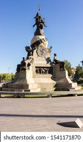 Valladolid, Spain; 10/05/2018: Statue monument to Columbus in Valladolid, Spain