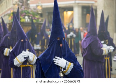 VALLADOLID, SPAIN - APRIL 03, 2015: Holy Week in Spain. Holy Week is annual commemoration by Christian religious brotherhoods, processions on the streets of almost every Spanish city and town