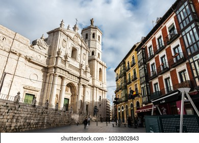 VALLADOLID, SPAIN - DECEMBER 30, 2017: Front facade and tower of Valladolid Cathedral, on December 30, 2017.