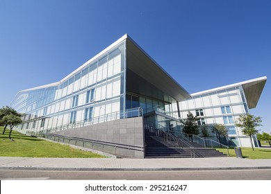 VALLADOLID, SPAIN - JULY 10, 2015: The Miguel Delibes Cultural Center was designed by architect Ricardo Bofill Levi and opened in March 2007 with a concert of the Symphony Orchestra of Castilla y Leon