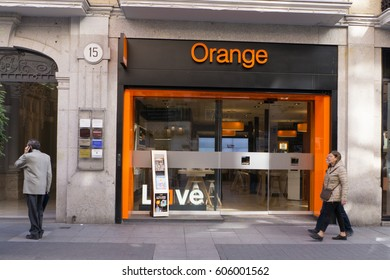VALLADOLID, SPAIN - MARCH 17, 2017:  A Orange store front. Orange, a French telecommunications company, is one of the largest operators of mobile and internet services in Europe.