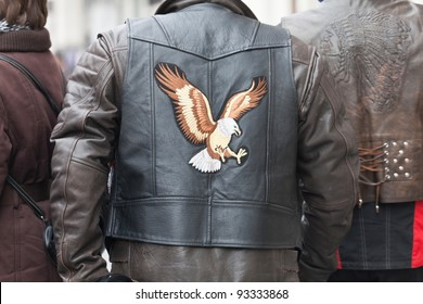 "VALLADOLID-JANUARY 14: a biker's jacket at the rally ""Penguins 2012"" in Valladolid, Spain on January 14, 2012. It is the largest and most important meeting in Europe"