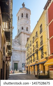 VALLADOLID,SPAIN - MAY 13,2019 - Bell tower of Valladolid Cathedral from the street. Valladolid is made up of a variety of historic houses, palaces, churches, plazas, avenues and parks.