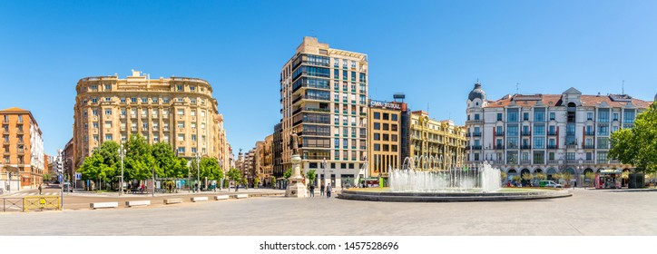 VALLADOLID,SPAIN - MAY 13,2019 - Panoramic view at the Zorrilla Place in Valladolid. Valladolid is made up of a variety of historic houses, palaces, churches, plazas, avenues and parks.