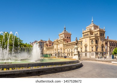 VALLADOLID,SPAIN - MAY 13,2019 - View at the building of Cavalry Academy from Zorrilla Place in Valladolid. Valladolid is made up of a variety of historic houses, palaces, churches, plazas and parks.