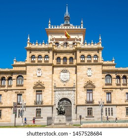 VALLADOLID,SPAIN - MAY 13,2019 - View at the building of Cavalry Academy in Valladolid. Valladolid is made up of a variety of historic houses, palaces, churches, plazas, avenues and parks.