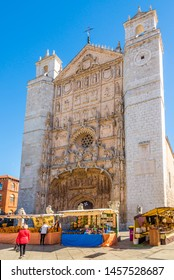 VALLADOLID,SPAIN - MAY 13,2019 - View at the facade of San Pablo Church in Valladolid. Valladolid is made up of a variety of historic houses, palaces, churches, plazas, avenues and parks.