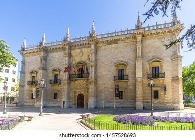 VALLADOLID,SPAIN - MAY 13,2019 - View at the Palace of Santa Cruz in Valladolid. Valladolid is made up of a variety of historic houses, palaces, churches, plazas, avenues and parks.