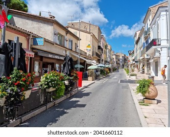 Vallauris, France - 30 August, 2021: View of the old town during the summer. The cit is known for its contribution to the development of the famous painter Pablo Picasso.