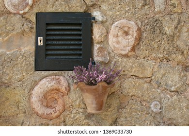 VALLDEMOSSA, MALLORCA, SPAIN - MARCH 21, 2019: Ammonite shells and wall hanging pot as decorations on wall in the old town on March 21, 2019 in Valldemossa, Mallorca, Spain.