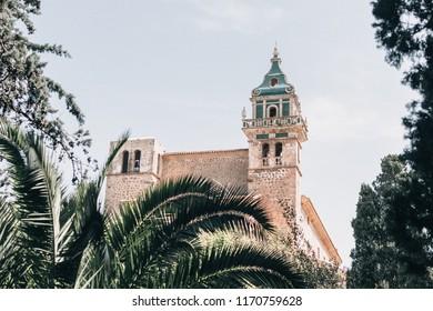 Valldemossa /Spain - April 25, 2018: A view on the Esglesia de Sant Bartolomeu