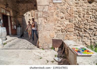 VALLDEMOSSA,SPAIN-APRIL 15,2013:Old town street of Valldemossa,Mallorca,Spain.