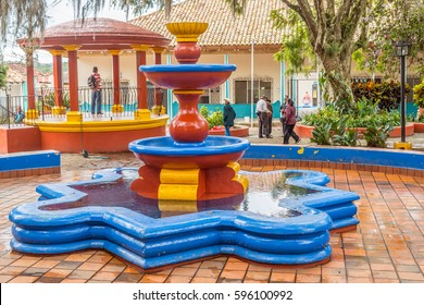 Valle de Angeles, Honduras - November 26, 2016: Fountain in Central Park in touristic town Valle de Angels in Honduras. It used to be old Spanish mining town.