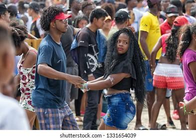 Valle de Chota, Ecuador- March 4, 2019: young couple dancing at the 'Olas del Rio' carnival