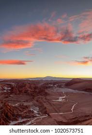 Valle de la Luna at sunset, The Moon Valley near San Pedro de Atacama, elevated view, Atacama Desert, Antofagasta Region, Chile