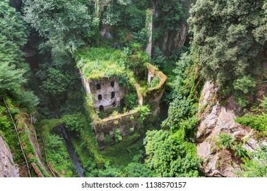 Valle dei Mulini, or Valley of Mills, in Sorrento, Amalfi coast. Italian landscape