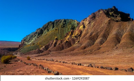 The Valle del Arcoiris is located about 90 kms from San Pedro de Atacama in Chile, close to Yerbas Buenas Petroglyphs. It owes its name to the variety of colors that can be seen in the