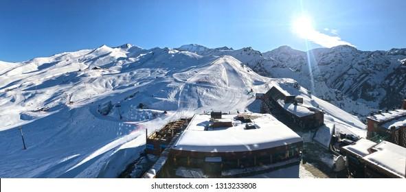 Valle Nevado, Chile - July 30 2018: Panoramic view of valle nevado ski resort near Santiago de Chile