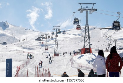 Valle Nevado/Santiago de Chile/Chile - July 19, 2018: Tourists walked three thousand meters of altitude in the Valle Nevado that is one of the most know and badalated ski poles of Chile.