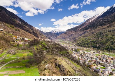 Valle of Valtellina, panoramic view. Village of Grosio, Grossotto and Sondalo