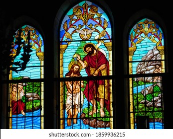 Vallehermoso, La Gomera (Canary Islands)/ Spain; August 14 2018: Detail of the central stained glass window of the Church of San Juan Bautista in Vallehermoso on the Island of La Gomera, Spain.