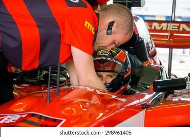 VALLELUNGA CIRCUIT, ROME, ITALY - NOVEMBER 2 2008. Superleague Formula driver before start