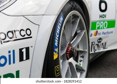 Vallelunga, Italy, 19 september 2020. Aci racing weekend. Close up of Michelin slick racing tire on Porsche Carrera car, front view motorsport equipment