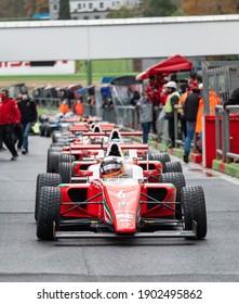 Vallelunga, Italy 5 december 2020, Aci racing weekend. Racing formula cars front view aligned in asphalt circuit pit lane