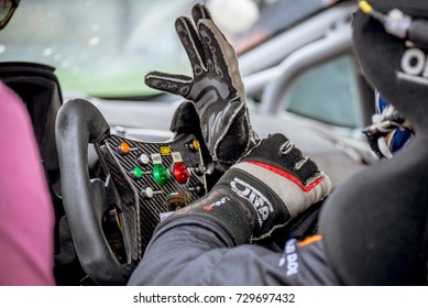 Vallelunga, Italy september 24 2017. Single seater motorsport racing car  cockpit detail, driver with glove and steering wheel