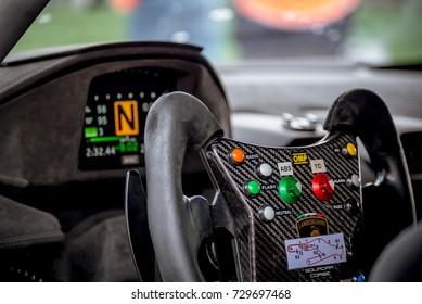 Vallelunga Italy September 24 2017 Single Seater Motorsport Racing Car Cockpit Detail Steering