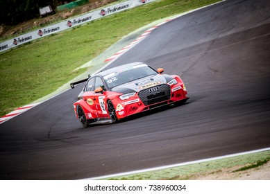Vallelunga, Italy september 24 2017. Touring Audi rs3 racing car in action on track during the race