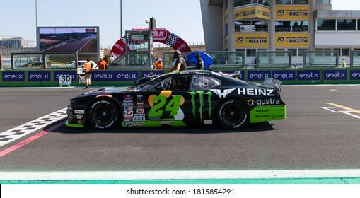 Vallelunga, Rome, Italy, 13 september 2020. American festival of Rome - Nascar Euro championship. Cars on starting line grid on track before racing start
