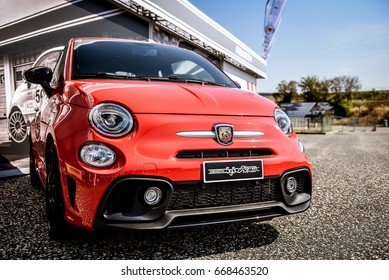Vallelunga, Rome, Italy. June 24 2017. Red Fiat Abarth 595 front view with logo on nose in car