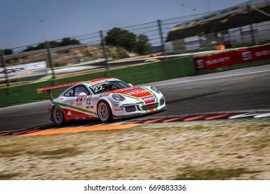 Vallelunga, Rome, Italy. June 24 2017. Italian Porsche Carrera Cup Daniele Cazzaniga racing driver in action on circuit turn