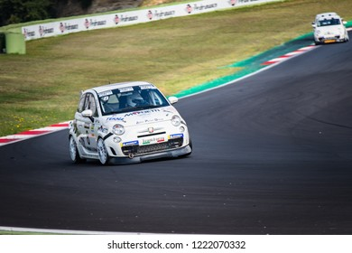 Vallelunga, Rome, Italy september 8 2018, Aci racing weekend, Front view of Abarth 695 car in action on track during the race