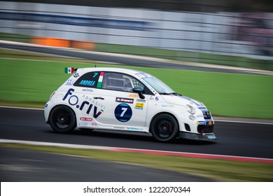 Vallelunga, Rome, Italy september 8 2018, Aci racing weekend, Panning on Abarth 695 car in action on track during the race, blurred background