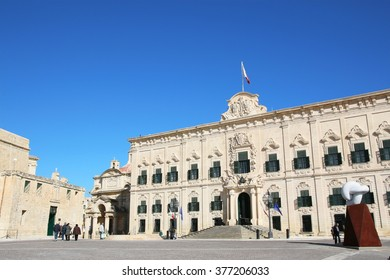 VALLETTA, MALTA 18 DECEMBER 2015 The Auberge de Castille, originally built in 1574 for the Knights of the Order of St John, serves today as the office of the Prime Minister of Malta.