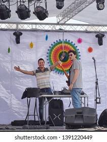 Valletta, Malta 28 apr, 2019: Color festival in Valletta waterfront, anual cultural event in the capital of Malta. local artists preparing for festival