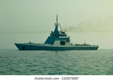 Valletta, Malta 2nd June 2018. French naval vessel FS L' Adroit P725 Gowind offshore patrol vessel arriving in port.