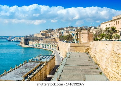 Valletta, Malta - 30 March 2019: Landscape of old Valletta with old buildings and Grand Harbour