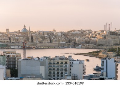 VALLETTA, MALTA - 30TH OCTOBER 2018: A view towards Valletta showing the skyline and architecture