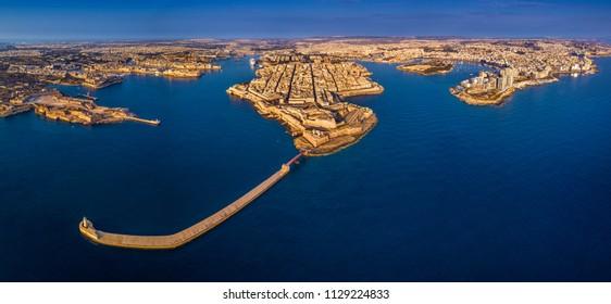 Valletta, Malta - Aerial panoramic skyline view of Valletta, Sliema, Breakwater, Grand Harbor, Birgu, Senglea and Manoel Island