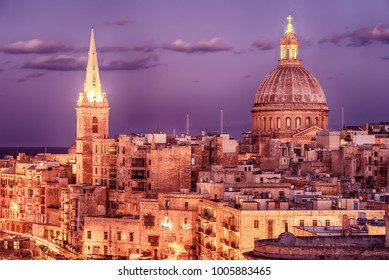Valletta, Malta: aerial view from city walls at night. The cathedral